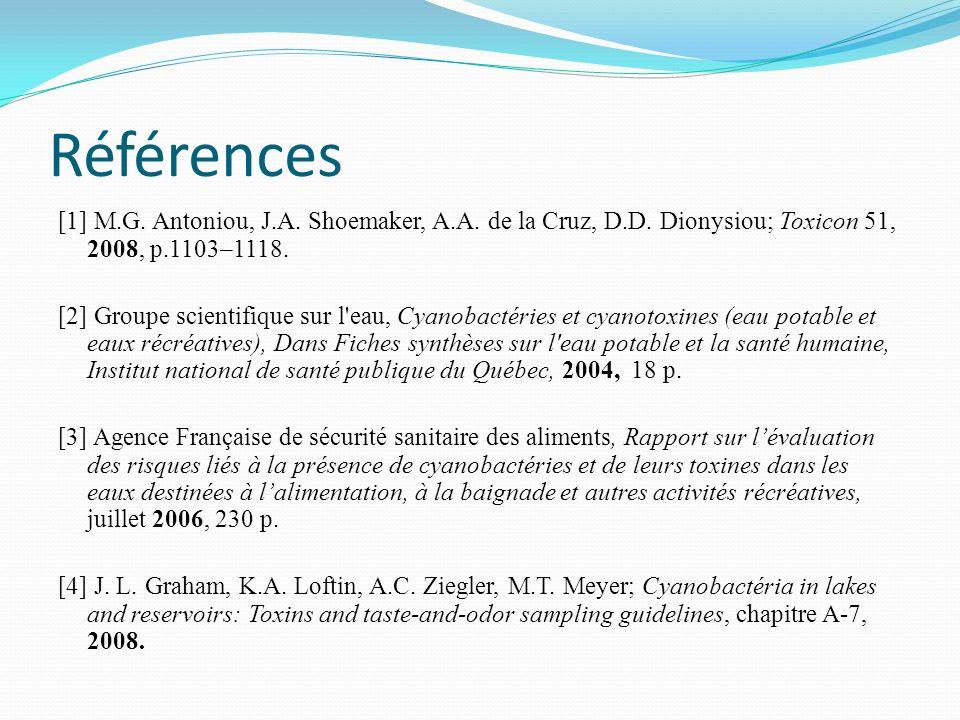 Références [1] M.G. Antoniou, J.A. Shoemaker, A.A. de la Cruz, D.D. Dionysiou; Toxicon 51, 2008, p.1103–1118.